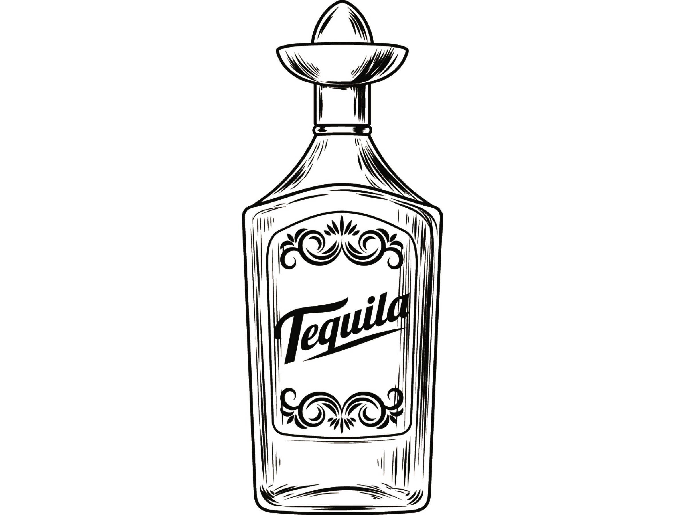 Alcohol Bottle 2 Tequila Liquor Sombrero Drink Drinking Cocktail Bar Pub Bartender Vintage Glass Svg Eps Png Vector C Tequila Bottles Bottle Tattoo Tequila