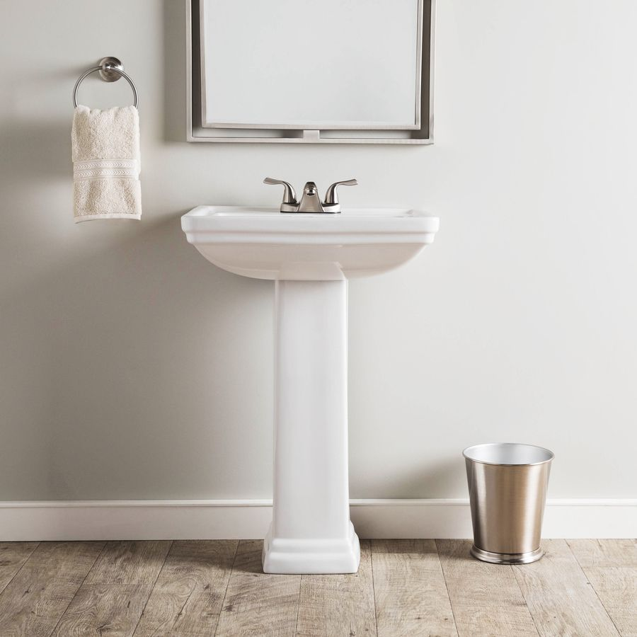 Aquasource 33 6 In H White Vitreous China Pedestal Sink At Lowes Com Pedestal Sink Sink Half Bath Remodel