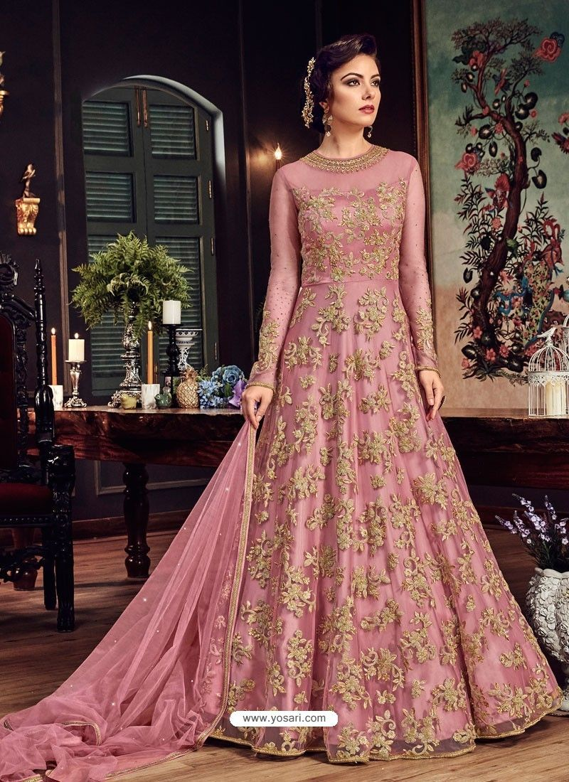 99f8da67e4 Light Pink Premium Net Embroidered Designer Anarkali Suit in 2019 ...