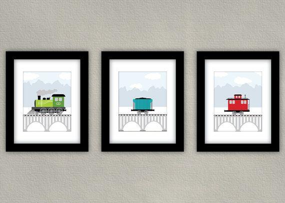 Kids Train Art Boy Room Decor Train Engine Car And Caboose Set Of 3