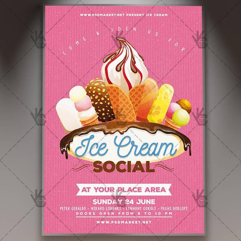 Ice Cream Premium Flyer Psd Template Psdmarket Flyer Design Templates Flyer Flyer Design