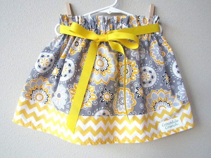 Girls Twirl Skirt Gray and Yellow Chevron by crocodilecrunch, $25.00