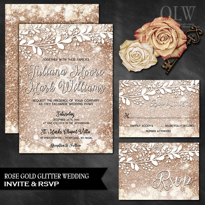 Rose Gold Wedding Invitation and Response Card Sparkle Wedding