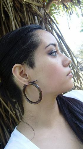 Stick Gauge Earrings Anela S Hawaii Organic Large Wood Hoop Wave Tribal Fake