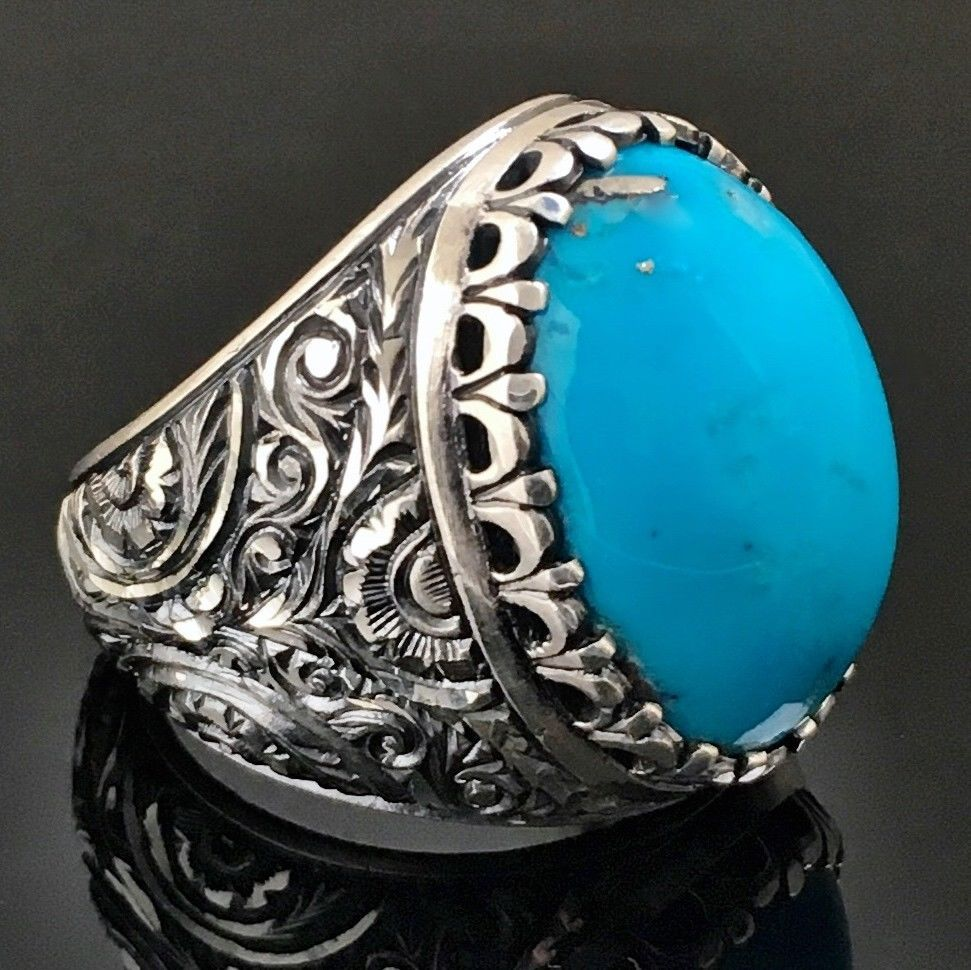 d303f9476 925 Sterling Silver Unique Handcrafted Mens Ring Blue Turquoise Firoza 12  US #Handmade #Solitaire