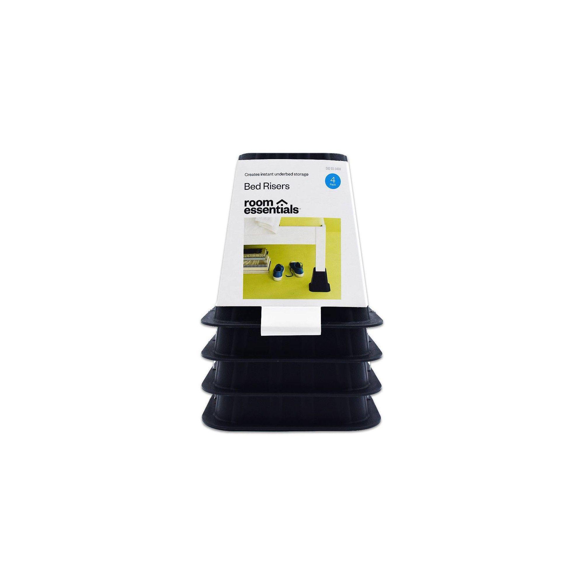 Best Bed Risers Espresso 4Pk Room Essentials White Black 640 x 480