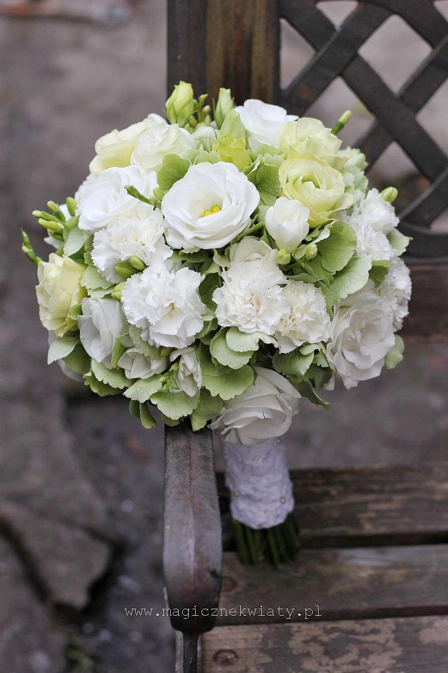 bukiet ślubny biało-zielony, hortensja, goździki, eustomy ...