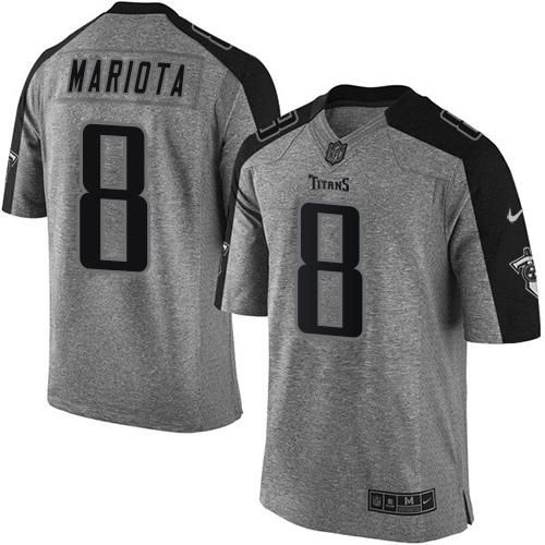7b5b79985 Nike Titans  8 Marcus Mariota Gray Men s Stitched NFL Limited Gridiron Gray  Jersey