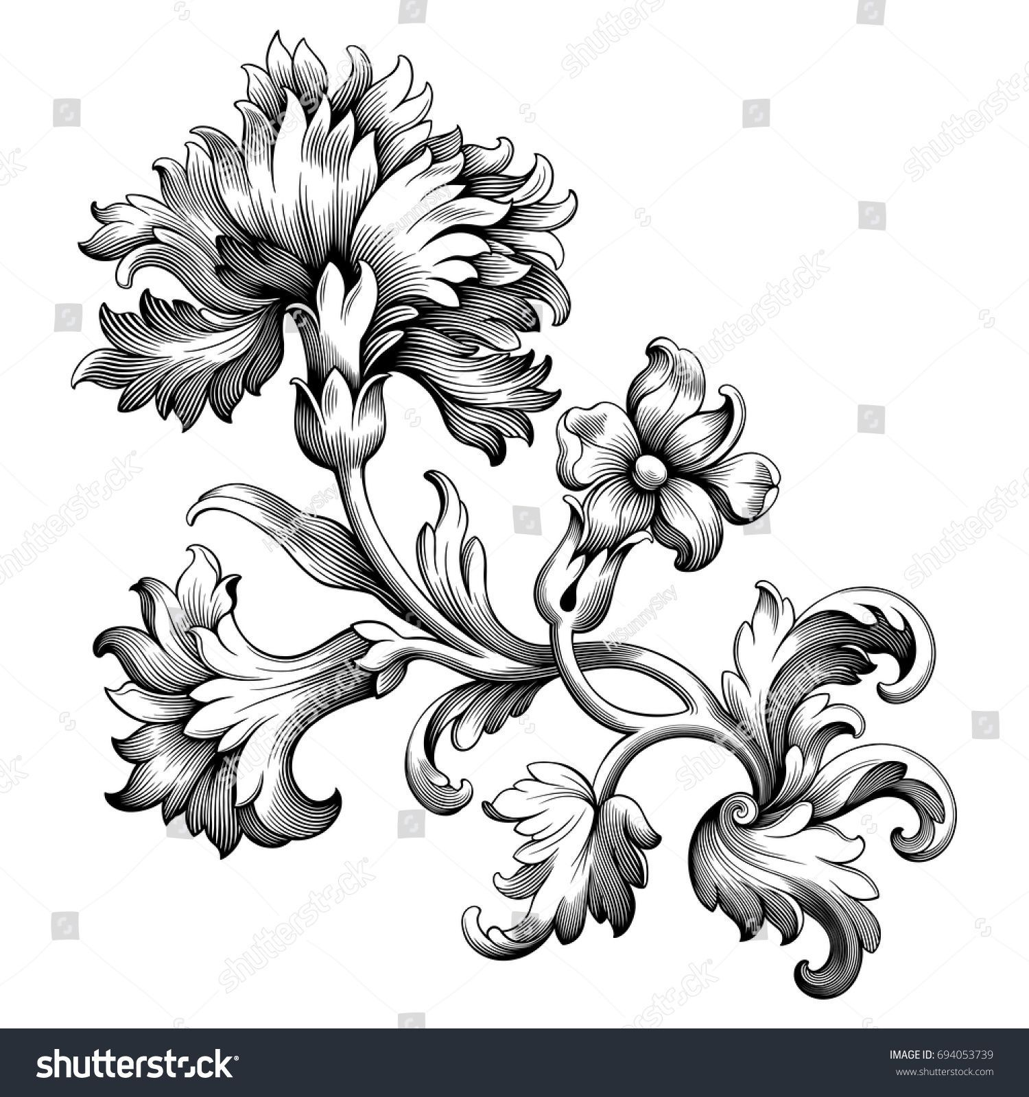 Rose Peony Carnation Flower Vintage Baroque Victorian Frame Border Floral Ornament Leaf Scroll Engraved Retro In 2020 Victorian Frame Vintage Flowers Ornament Drawing