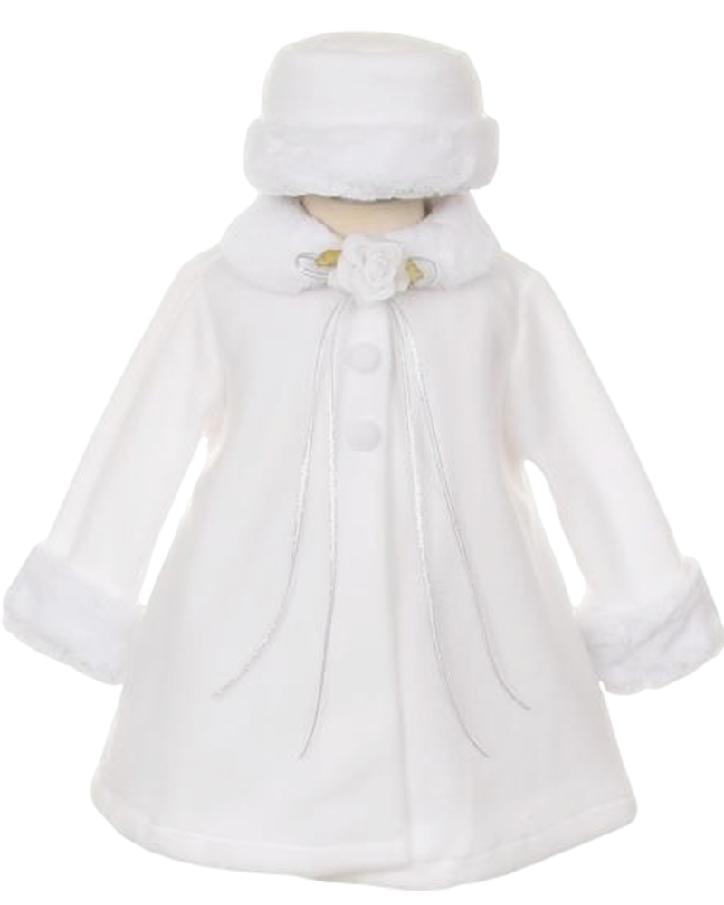Fleece & Fur Trim Dress Coat with Matching Fur Trimmed Hat (Baby ...