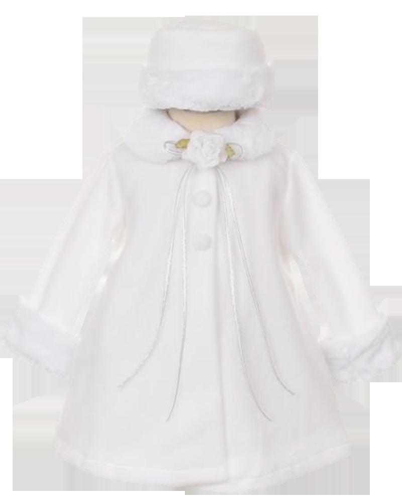 92f7fafd7 White Fleece   Fur Trimmed Girls Dress Coat w. Hat 3m-24m