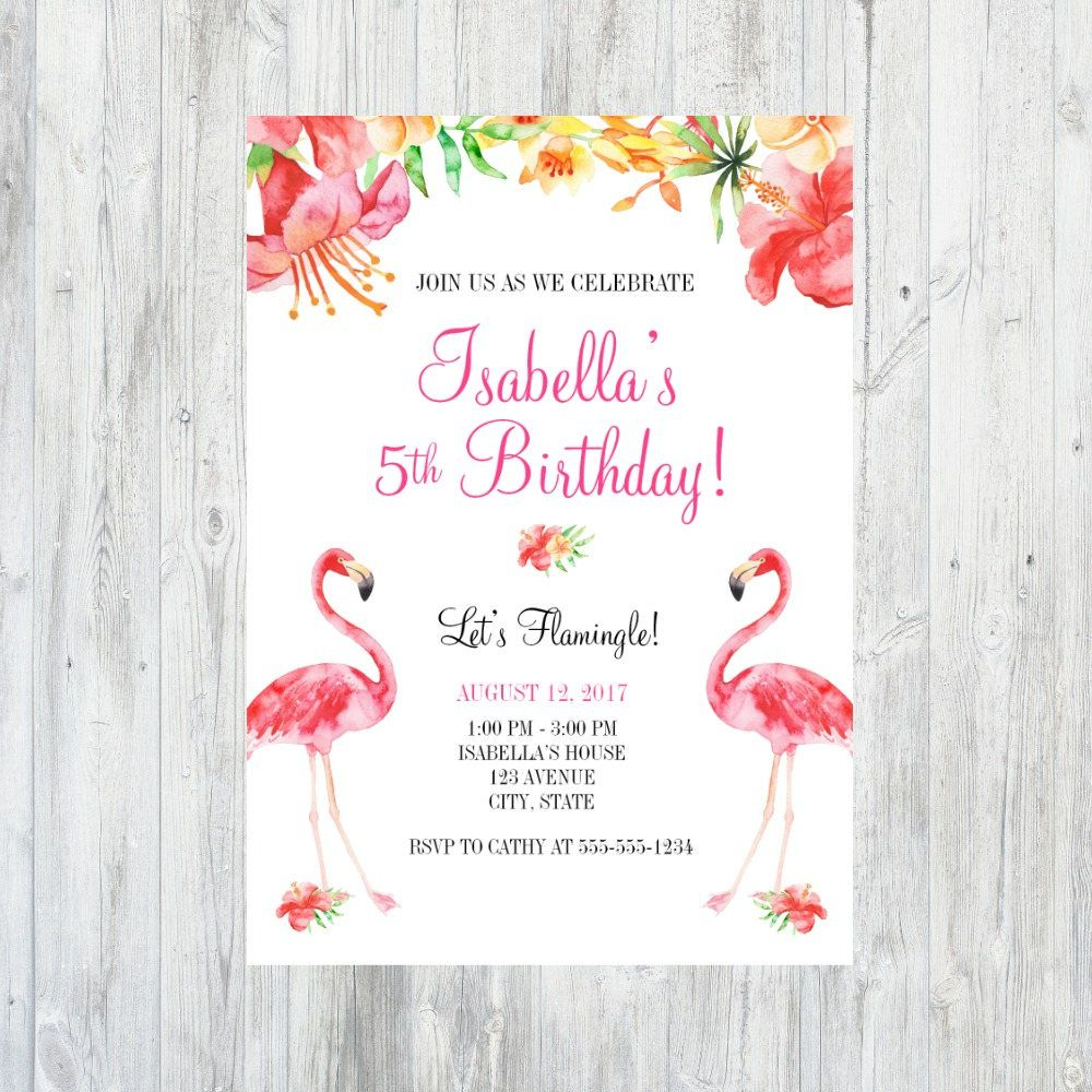 Flamingo Birthday Invitation, Flamingo Birthday Party, Flamingo ...