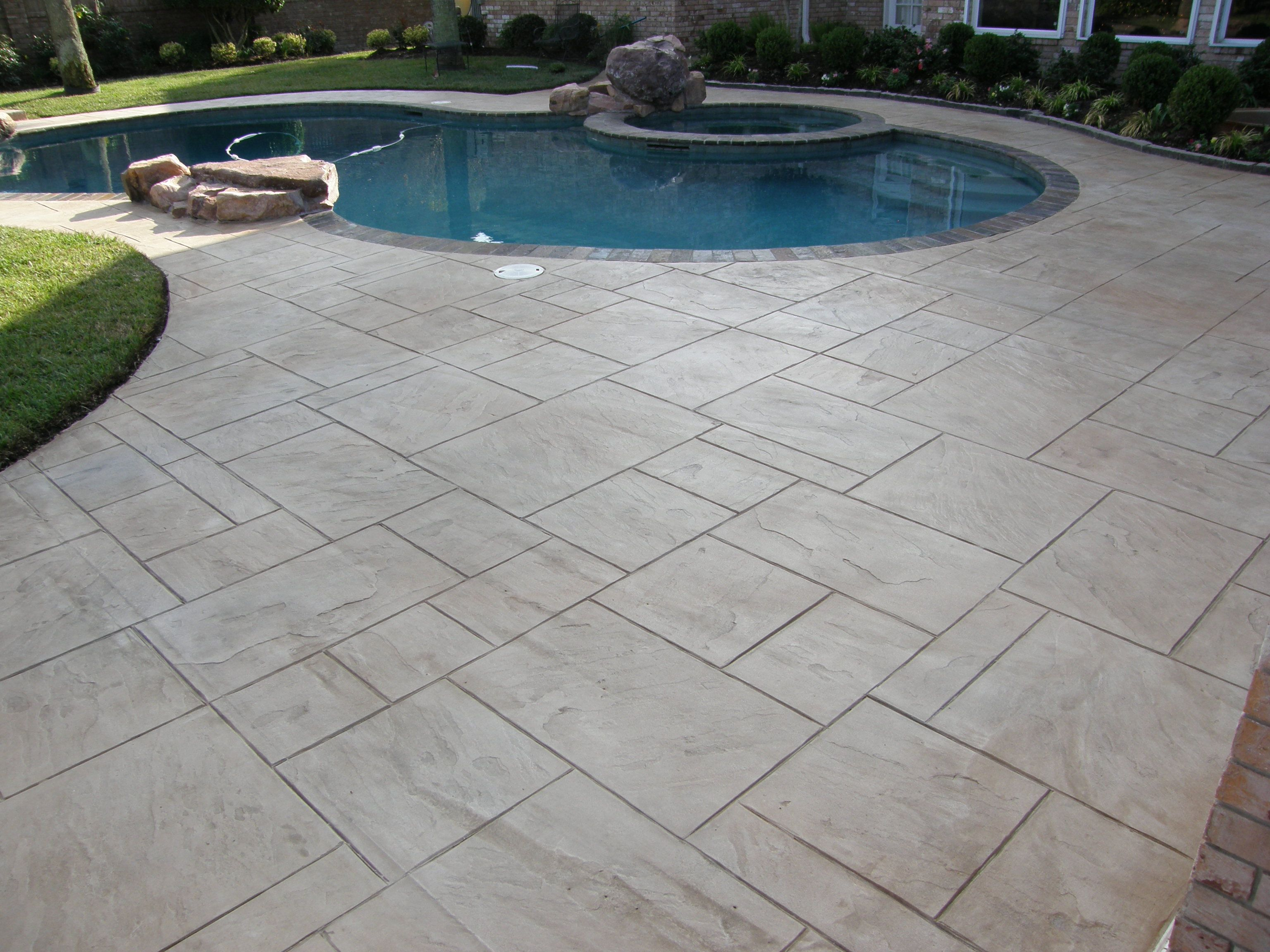 Yorkstone Stamped Overlay Over Existing Pea Gravel Pool Deck Concrete  Overlay, Stamped Concrete, Concrete