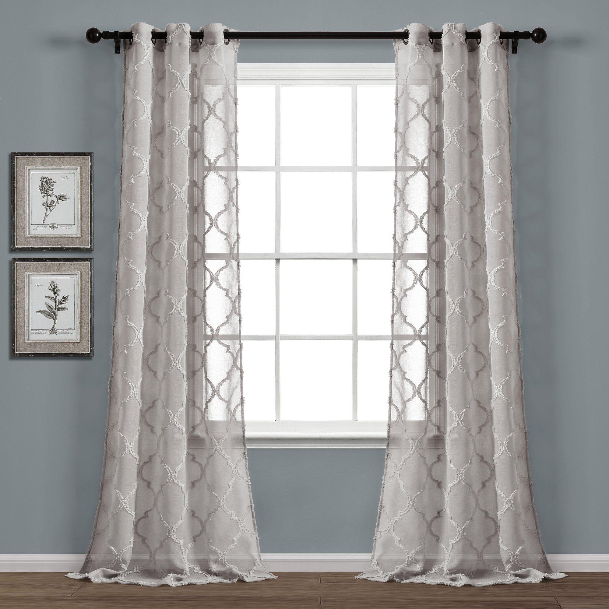 Avon Trellis Grommet Sheer Window Curtain Panel Set Panel
