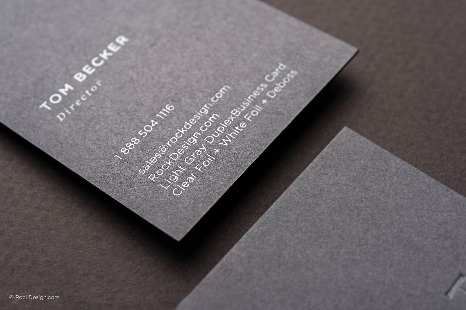 Minimalist elegant gray business card with foil stamping - Dot Bar ...