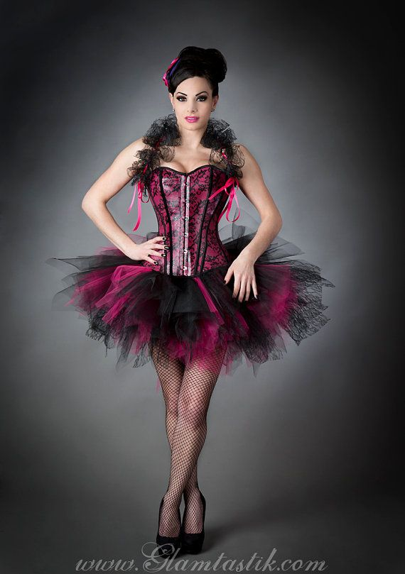 Clearance Size Small Hot Pink and Black leather pvc Burlesque tutu ...