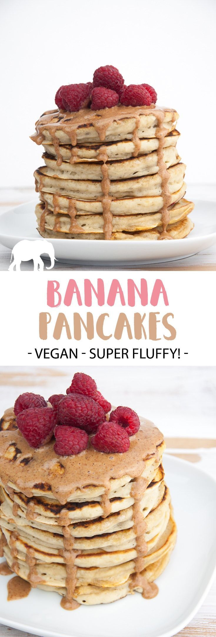 Vegan Banana Pancakes topped with almond butter and raspberries. Easy and quick to make! The perfect Sunday breakfast! |