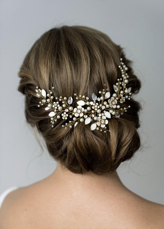 Bridal headpiece Bridal hair comb Flower hair comb Bridal hair piece Wedding headpiece Wedding hair comb Bridal hair vine Golg headpiece