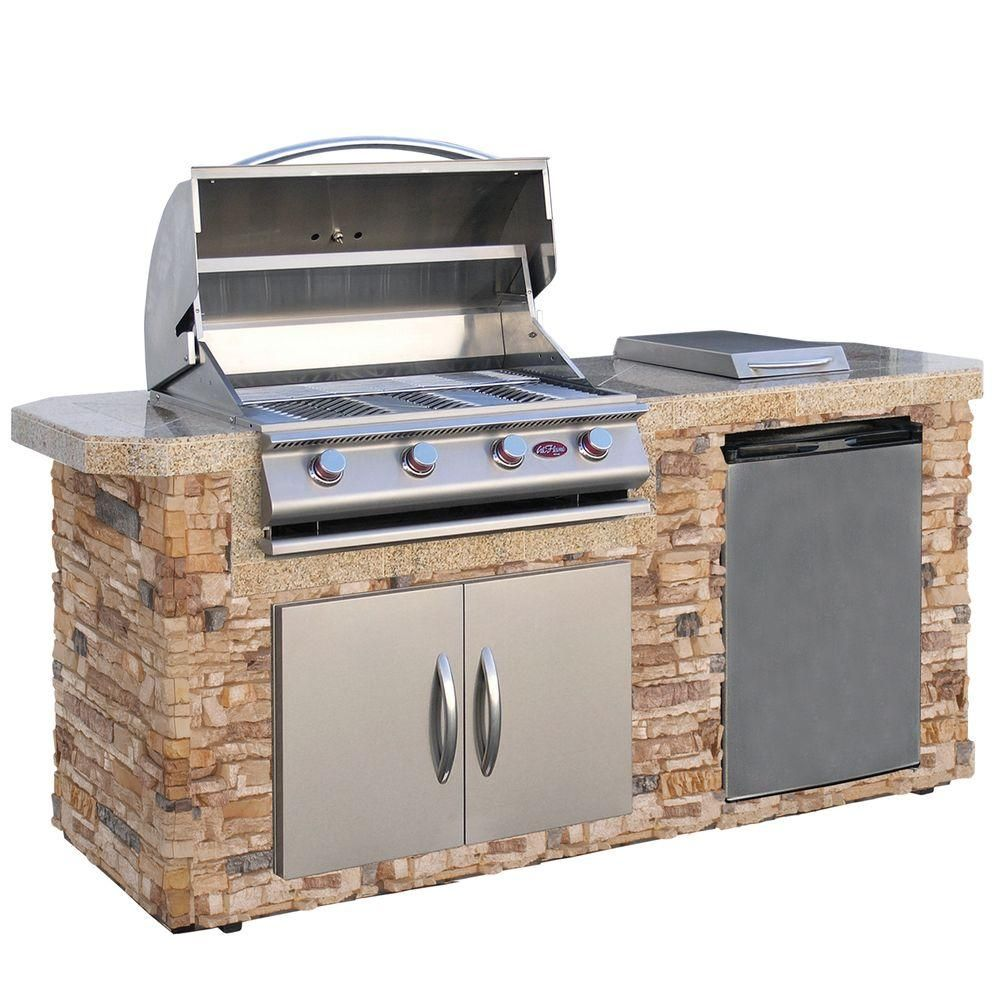 Flame 7 ft. Cultured Stone Grill Island with 4-Burner Gas Grill in ...