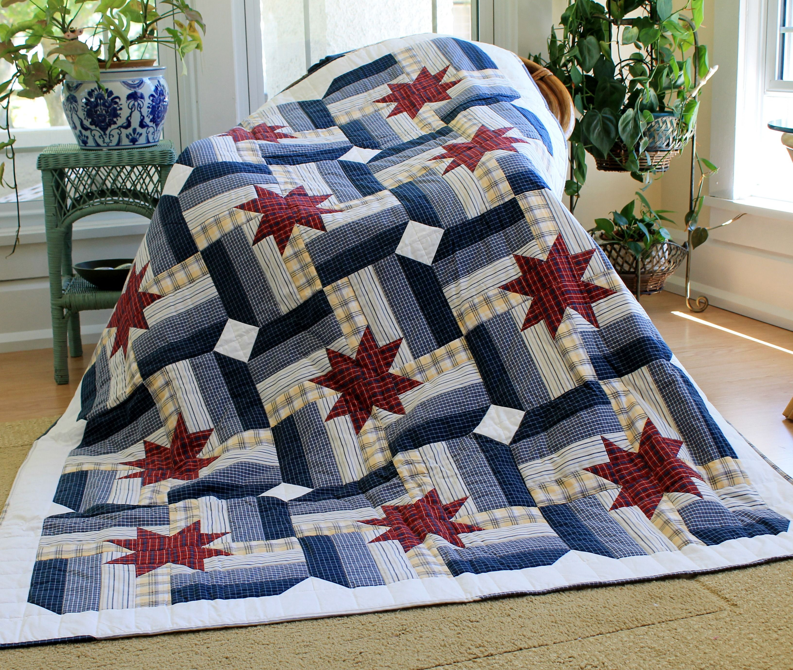 Quilt Made Entirely With Recycled Men S Shirts By Rhonda