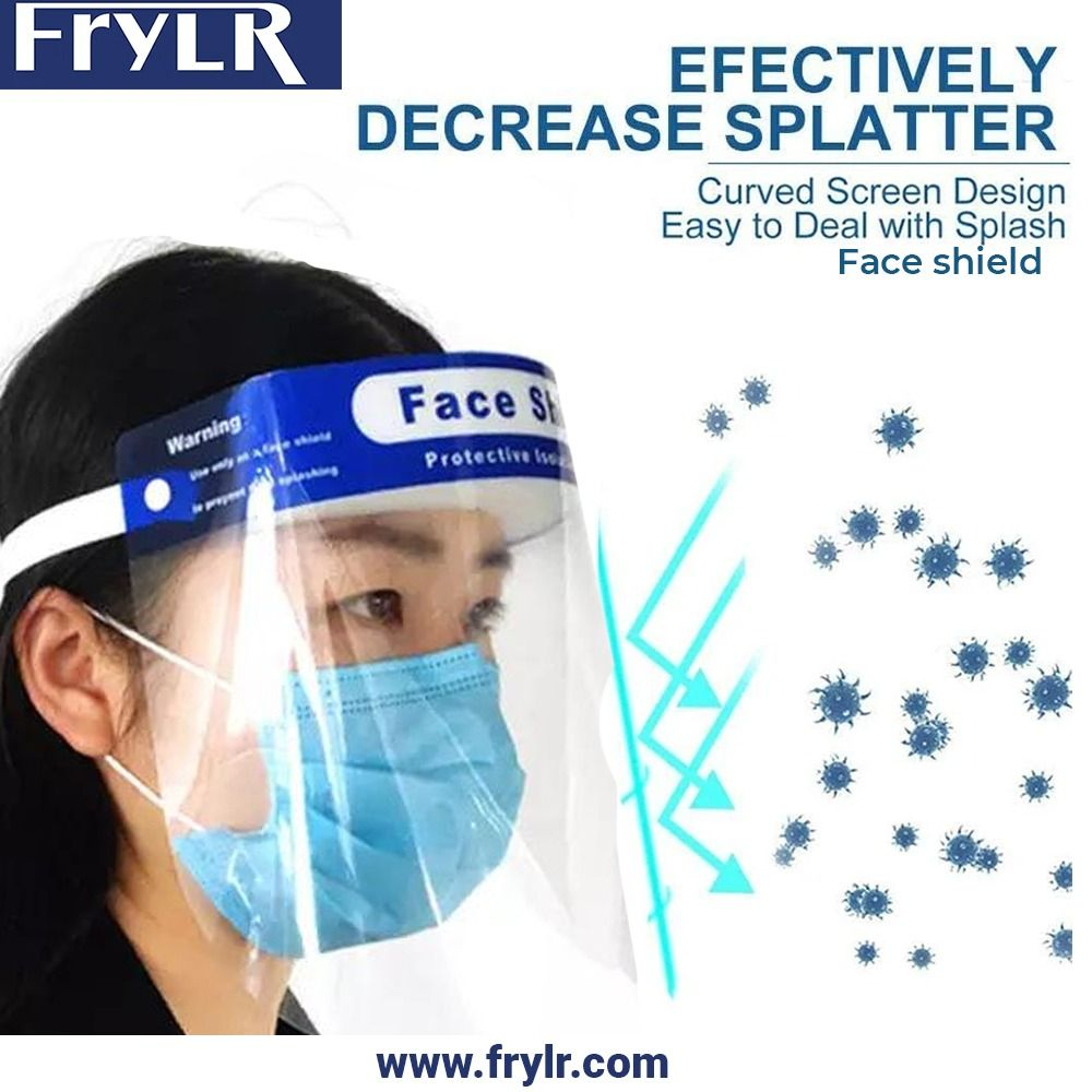 20 packs full face shield reusable transparent face