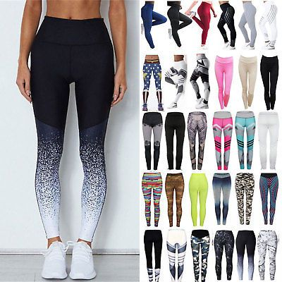 7be6927e6f98a Women Yoga Leggings Fitness Sports Gym Exercise Running Jogging Pants  Trouser UK