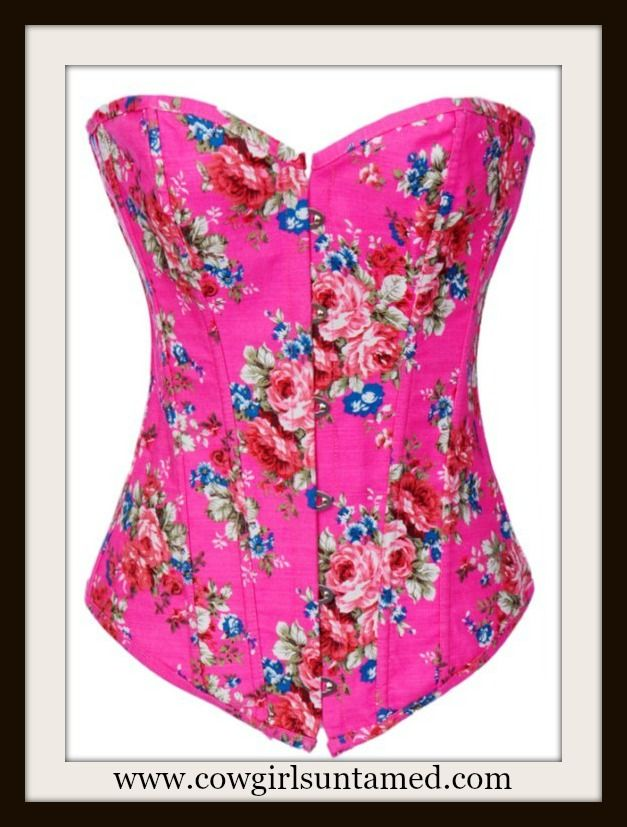 76c74ec0a3c CORSET - Hot Pink Denim Floral Lace Up Western Corset Bustier Top and FREE  Thong
