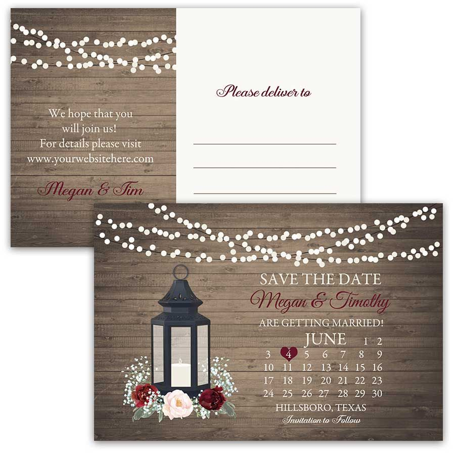 Calendar Style Save the Date Postcards Lantern Theme