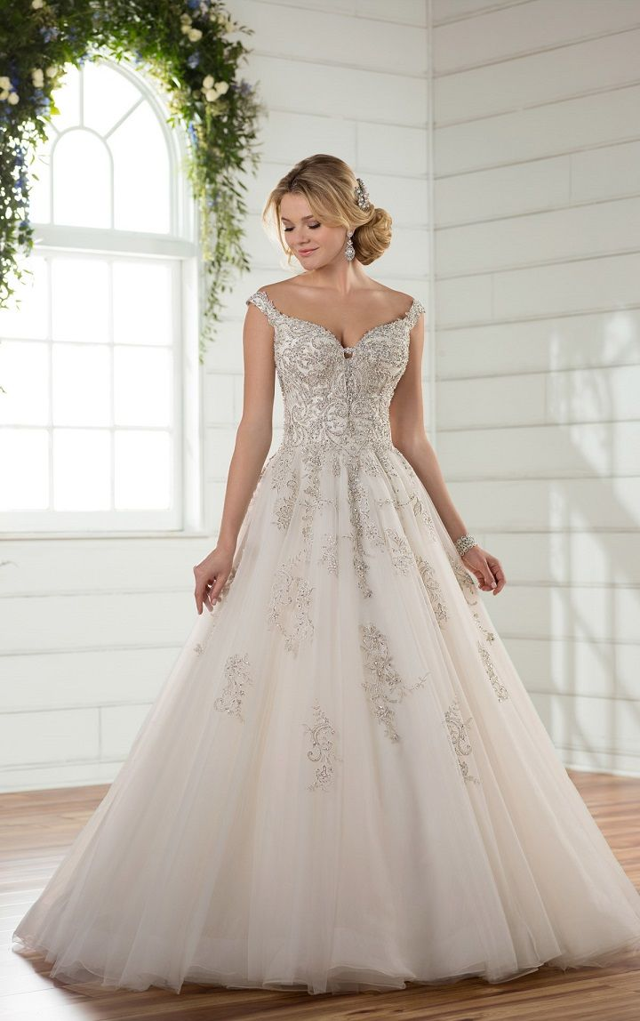 Off the shoulder princess wedding gown
