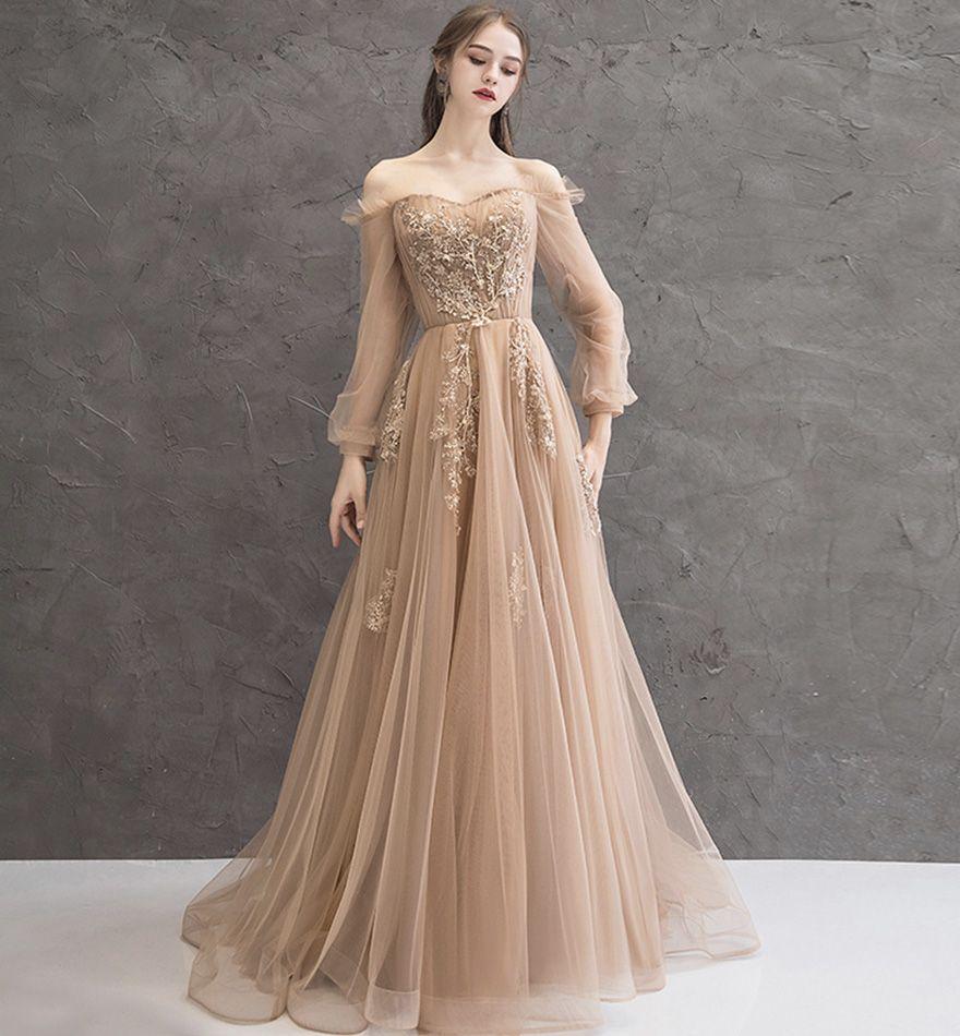 Elegant Tulle Lace Long Prom Dress Evening Dress In 2021 Prom Dresses Long With Sleeves Tulle Evening Dress Prom Dresses With Sleeves [ 950 x 880 Pixel ]