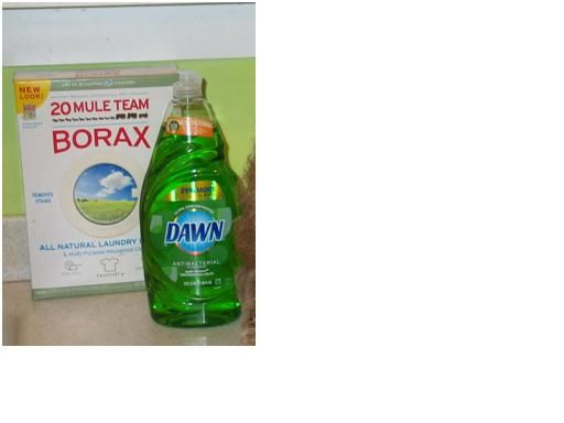 Borax and dish detergent mixed into a paste to remove grease stains from clothes