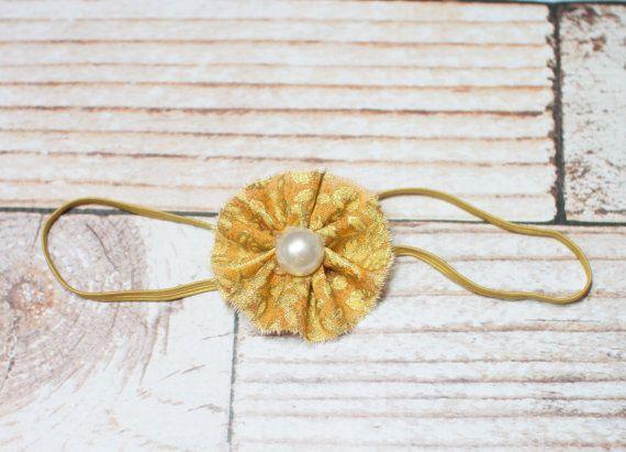 Itty Bitty Headband - deep mustard yellow/orange and gold glitter fabric by SoTweetDesigns