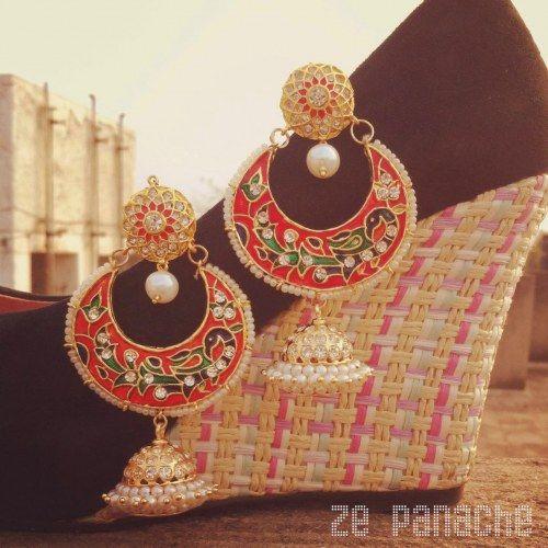 4bd6b27082eb7 Red Chand Bali | Indian jewelry | Jewelry, India jewelry, Indian ...