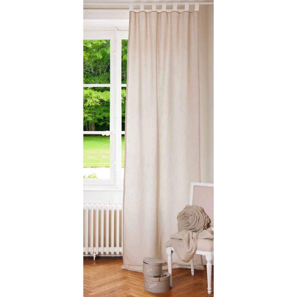 Rideau double face passants en lin cru et blanc 105x300 - Tissus pour double rideaux ...