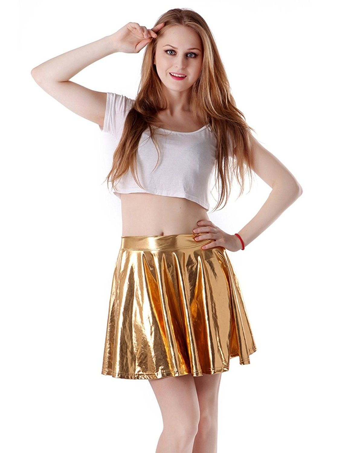b2b41967c3626 Women's Shiny Liquid Metallic Wet Look Flared Pleated Skater Skirt - Gold -  C411M6NONCH - Women's Clothing, Skirts #Skirts #Women's #Clothing # #Skirts