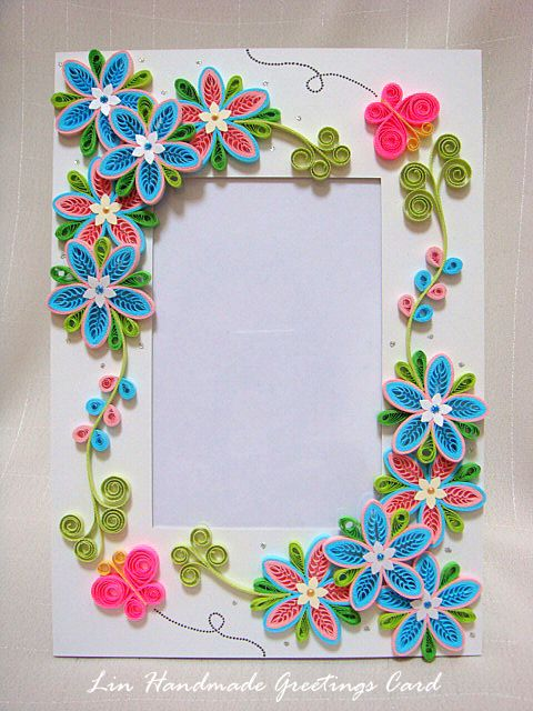 Lin handmade greetings card tiny loops flower photo frame also rh pinterest