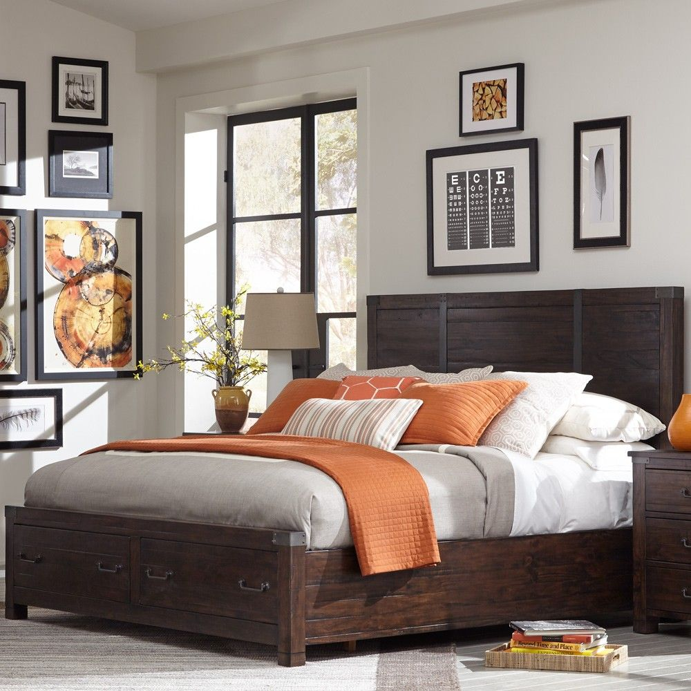 Pine hill wood panel storage bed in rustic pine by magnussen home