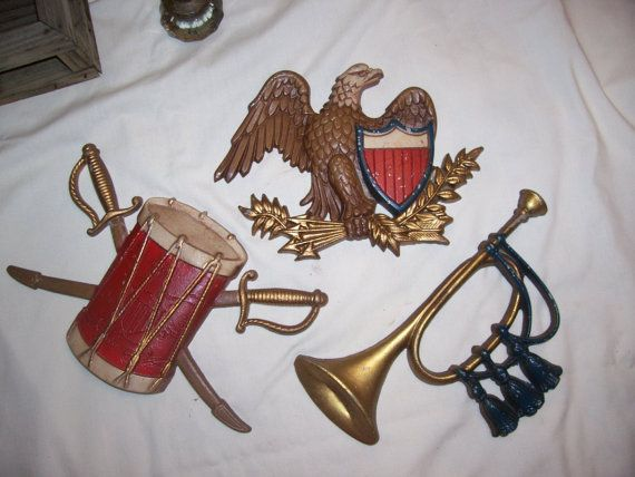 vintage metal wall plaques drum eagle bugle by rustyitems on Etsy, $10.00