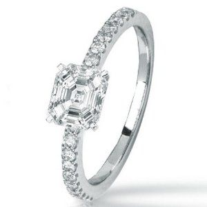 1.25 Carat Asscher Cut / Shape 14K White Gold Classic Side Stone Prong Set Diamond Engagement Ring ( K-L Color , VVS2 Clarity ) - http://finejewelrygalleria.com/jewelry/wedding-anniversary/engagement-rings/125-carat-asscher-cut-shape-14k-white-gold-classic-side-stone-prong-set-diamond-engagement-ring-kl-color-vvs2-clarity-com/