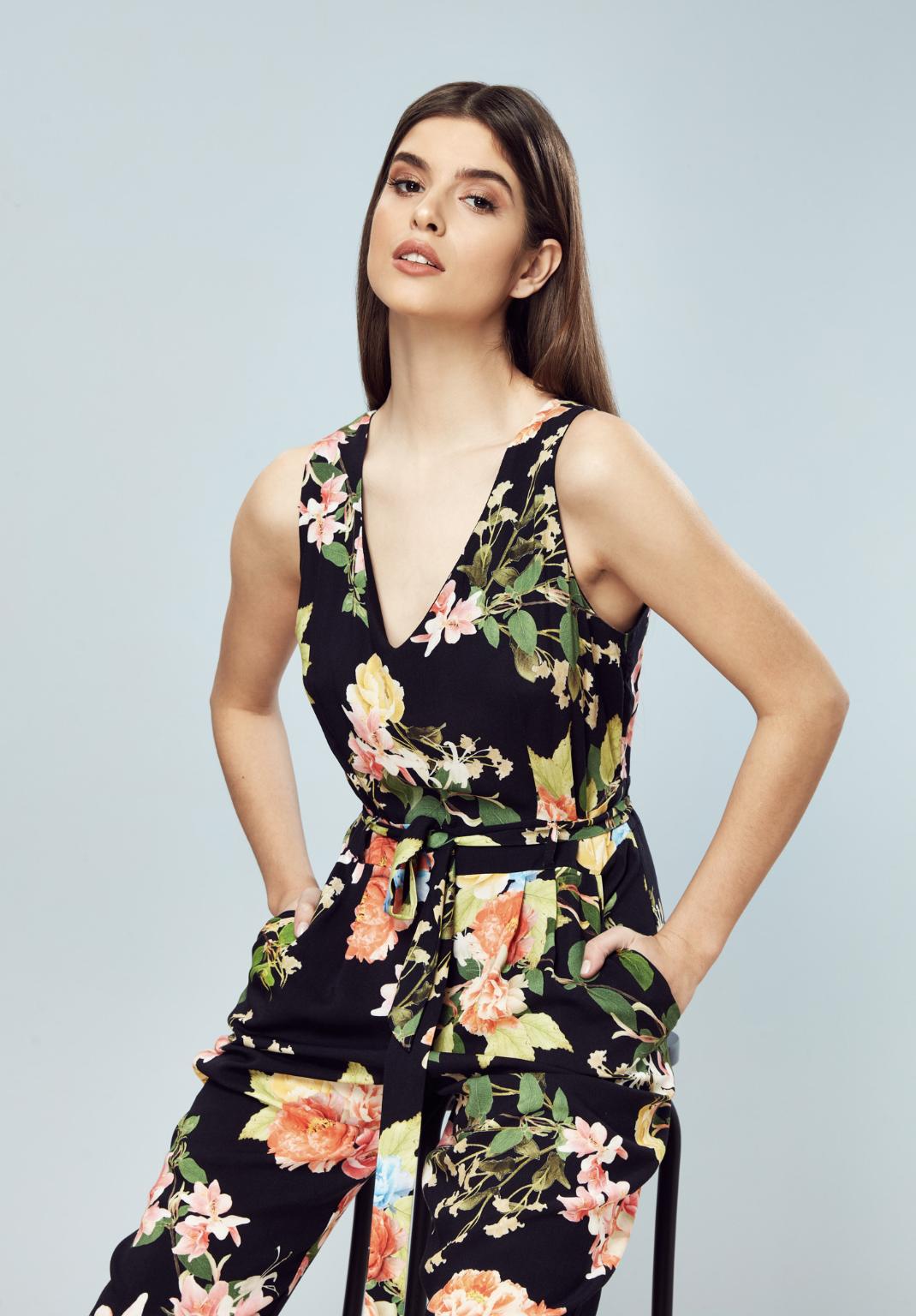 Petite VNeck Floral Jumpsuit Black floral jumpsuit