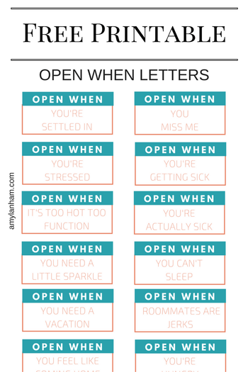 Open When Letter Free Printable  Printables And Products