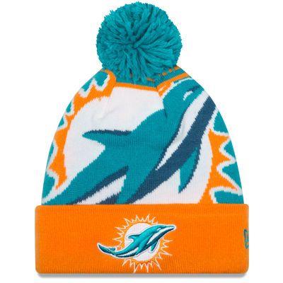 New Era Miami Dolphins Aqua Logo Whiz Cuffed Knit Hat with Pom ... 417fd458462d