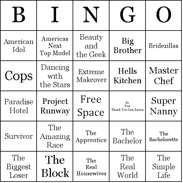 Reality Tv  Reality Tv Shows Bingo Cards  Word List  Tv Shows