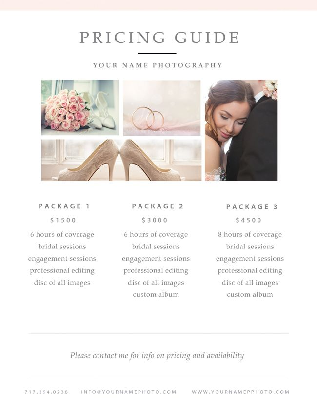 Free Photographer Pricing Guide Template By Stephanie Design