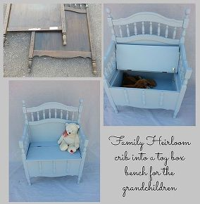 heirloom crib repurposed into a toy box for the grandchildren, diy, how to, painted furniture, repurposing upcycling
