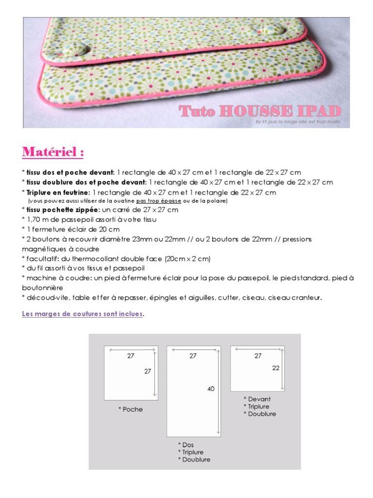 Tutoriel Housse IPAD ou tablettes.  No commercial use - Pas d'utilisation commerciale