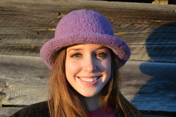 Hand knit and felted 100% wool hat by Knittingatthelake on Etsy