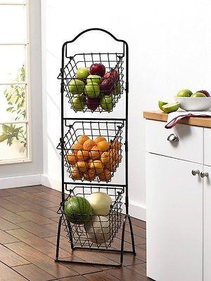 Metal Baskets For Storage Fruit Vegetables Display Rack Kitchen Space Saver Bins Metal Baskets Wire Basket Storage Tuscan Kitchen