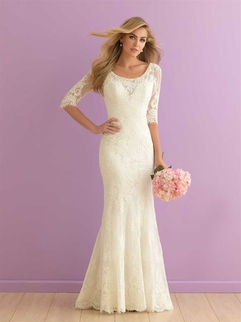 Elbow Length Sleeves Ensure This Slim Lace Sheath Is The Perfect Choice For Any Season Lace Wedding Dress Vintage Allure Bridal Lace Wedding Dress With Sleeves