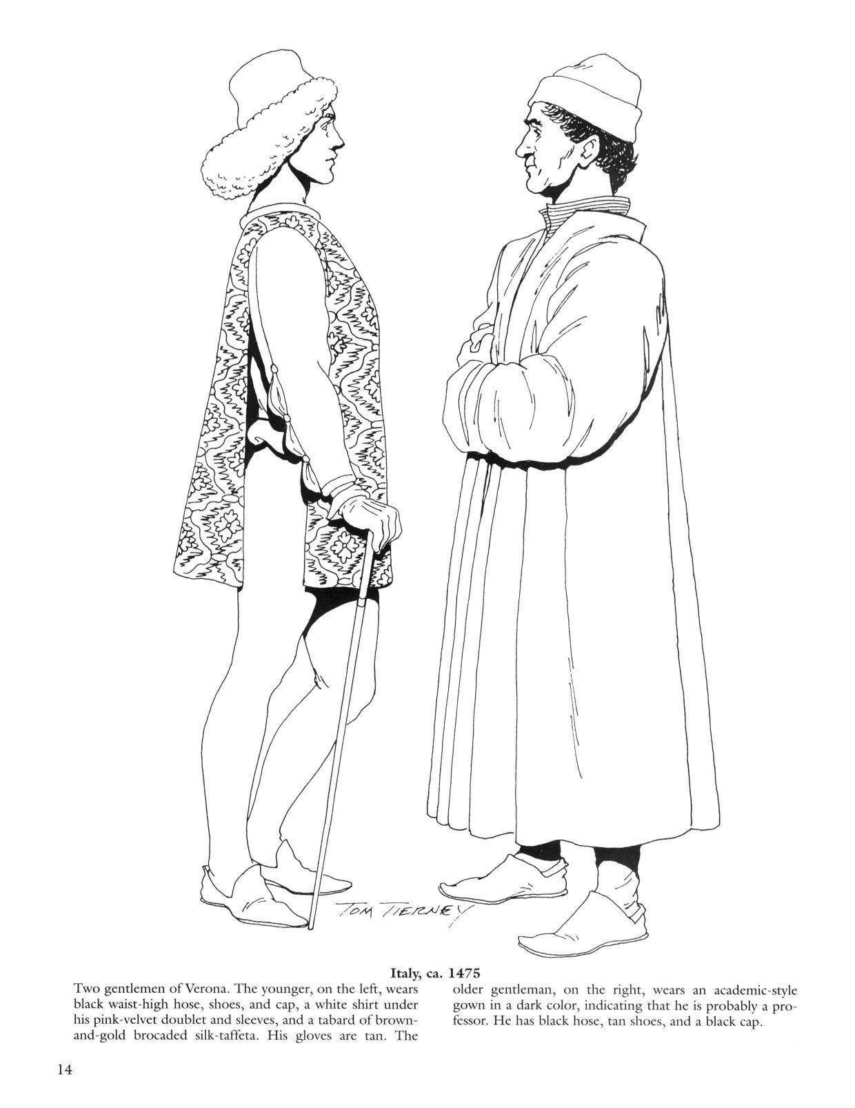 Renaissance Fashions Coloring Book In 2020 Kleuren